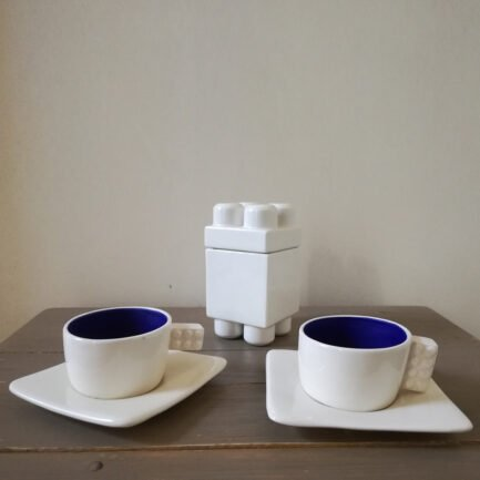 Set of two blue lego espresso cups + white lego sugar bowl: